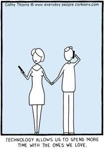 This cartoon is for all the couples who spend time with each other - and their electronic devices.