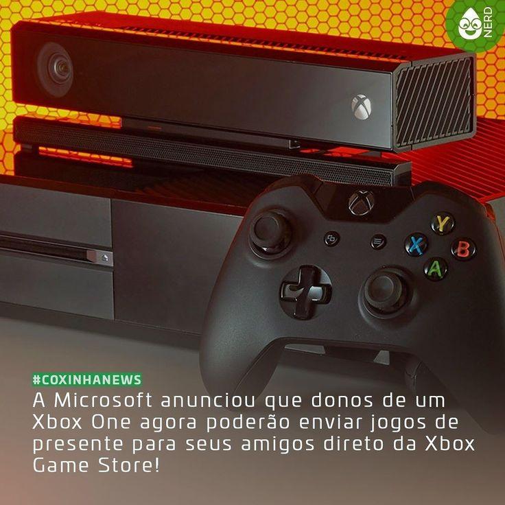 """#CoxinhaNews Para enviar um jogo de presente escolha-o na Xbox Game Store e use a opção """"Comprar como Presente"""" ao lado de """"Comprar"""" ou """"Experimentar e enviar para seu amigo!  #TimelineAcessivel #PraCegoVer  Imagem do console XBox One e a legenda: A Microsoft anunciou que donos de um Xbox One agora poderão enviar jogos de presente para seus amigos direto da Xbox Game Store!  TAGS: #coxinhanerd #nerd #geek #geekstuff #geekart #nerd #nerdquote #geekquote #curiosidadesnerds #curiosidadesgeeks…"""
