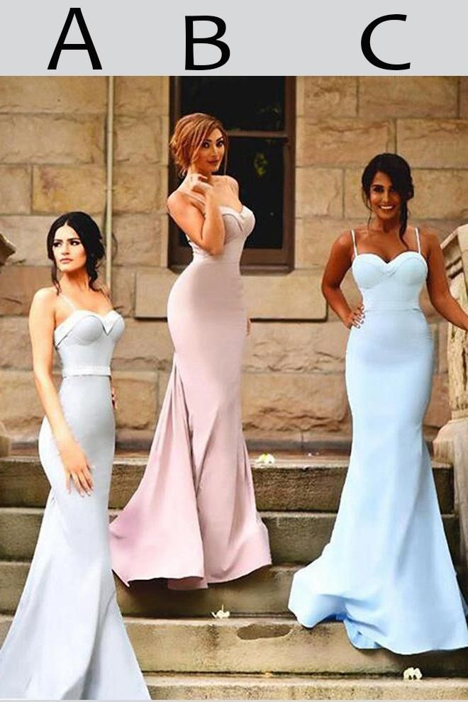 Sexy Spaghetti Straps Trumpet Sweetheart Sweep Train Ruffles Hot Bridesmaid  Dresses c4a86f34df5f