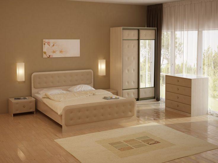 Тёплый бежевый тон придаст вашей спальне особую мягкость и нежность. А необычный дизайн мебели Неро, с мягкими вставками и декоративными пуговицами, станет основой уютного образа. Стильные настенные светильники подчеркнут геометрию и завершат дизайн спальни. На фото: кровать Неро, прикроватная тумба, комод, шкаф двухдверный из серии Неро/Сезия. Мебель выполнена из ЛДСП цвета Дуб Шамони и бежевой экокожи. https://ormatek.com/catalog/furniture/