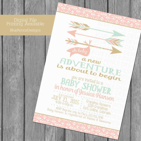 girl baby shower invitation can change all colors, a new adventure, first time parents, forest, woodland, template, coral, mint, gold, pink