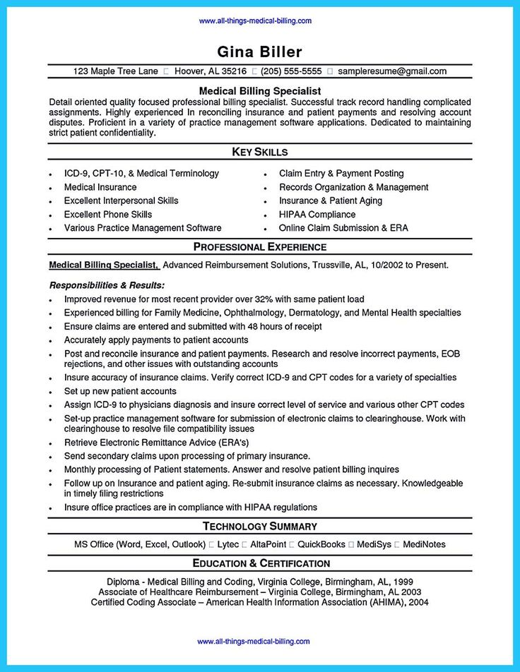 13 best Medical Billing images on Pinterest Medical assistant - sample medical billing resume
