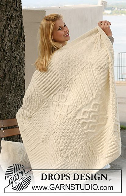 "Ravelry: 124-3 Blanket with squares in different structured patterns in ""Nepal"" pattern by DROPS design. #free"