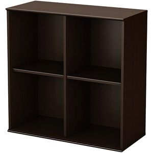 BONUS ROOM-South Shore Store It Collection 4-Cubby Storage Shelves, Chocolate