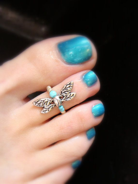 Dragonfly Turquoise Silver Stretch Bead Toe Ring by FancyFeetBoutique, $6.00