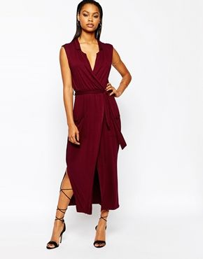 Boohoo Sleeveless Wrap Belted Midi Dress