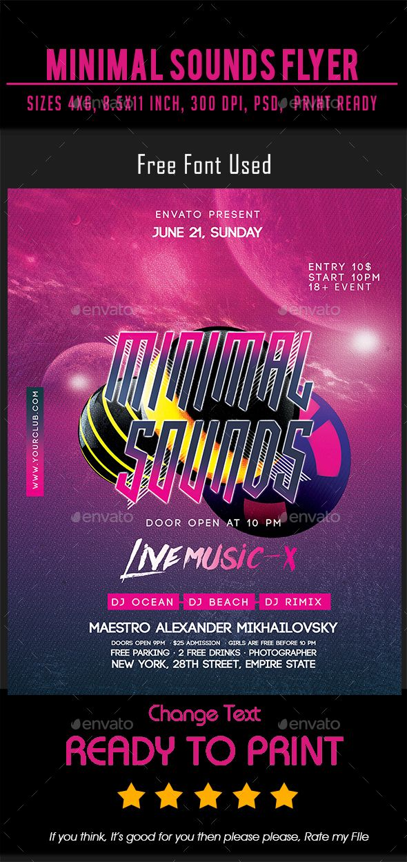 minimal sounds flyer events flyers ready to use template you