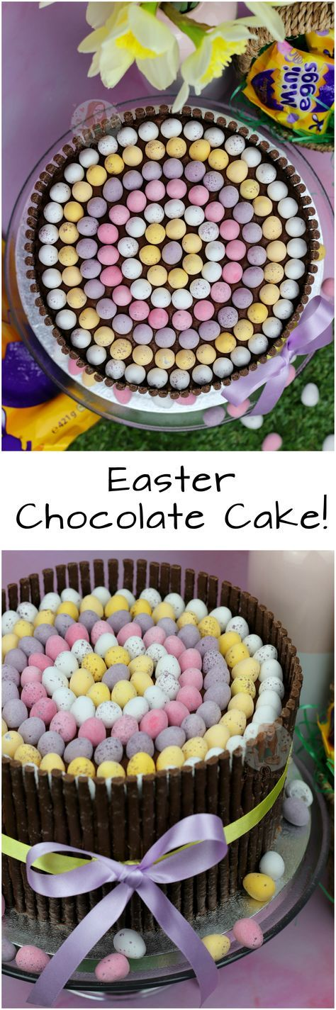 Easter Chocolate Cake!! Rich, Chocolate, and Gooey Chocolate Fudge Cake with Matchmakers, Mini Eggs, and DELICIOUS Chocolate Buttercream Frosting!
