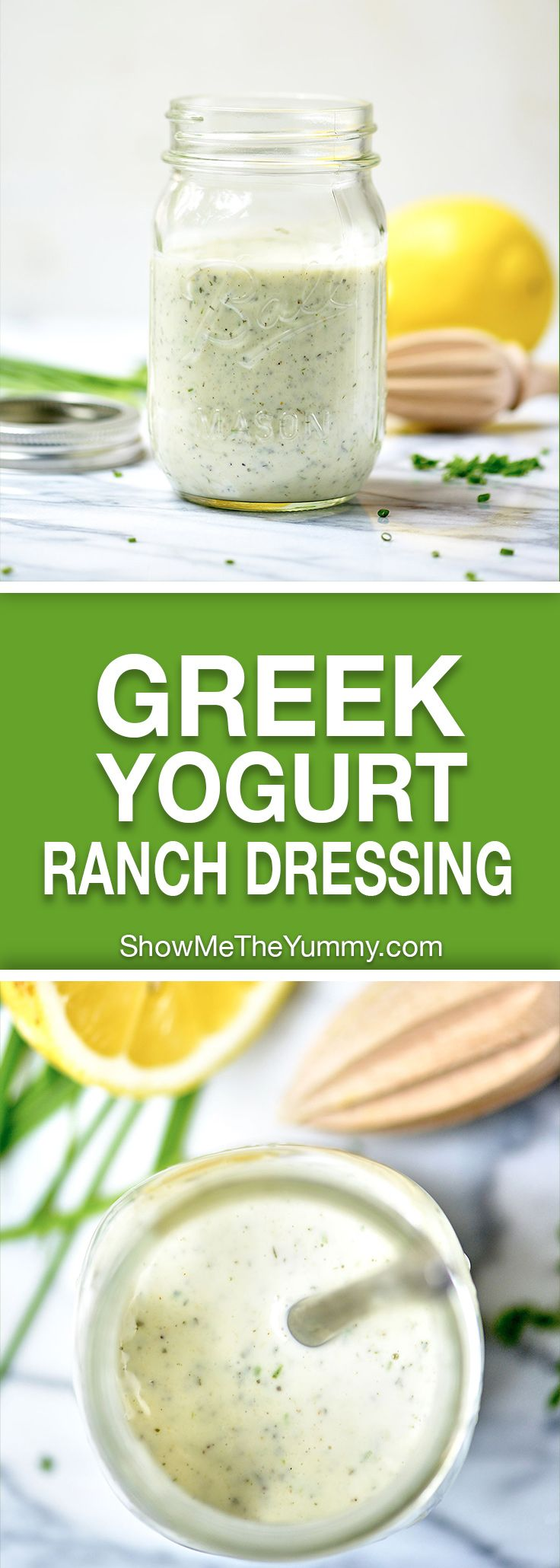 Homemade Greek Yogurt Ranch Dressing – easy, healthy, and delicious! 200 calories for the ENTIRE recipe! showmetheyummy.com #healthy #ranch