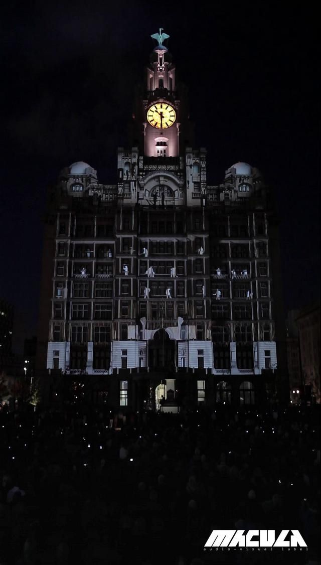 Luminous Flux by the macula. Mapping during 100 years anniversary of the Liver Building and grand opening of New Museum of Liverpool.