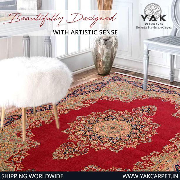 Have That Pop Of Red You Ve Always Wanted Yakcarpet Rugsnotdrugs Designs Shopnow Colorful Desig Carpet Handmade Buying Carpet Indian Carpet