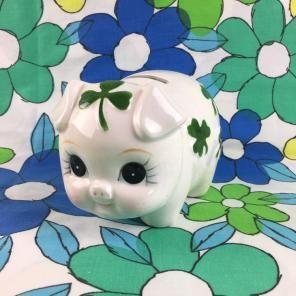 Lefton China Piggy Bank Clover