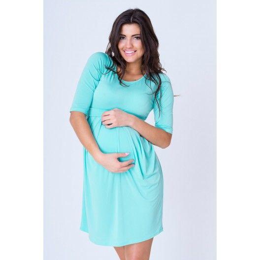 Letné tehotenské šaty mätovej farby s dlhým rukávom - fashionday.eu