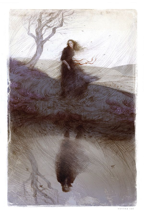 Series of interior illustrations and binding designfor The Folio Society's edition of 'Wuthering Heights' byEmily Brontë Photo of the binding courtesy of The Folio Society.