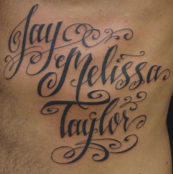 great kids name tattoo. I like the design of the letters.