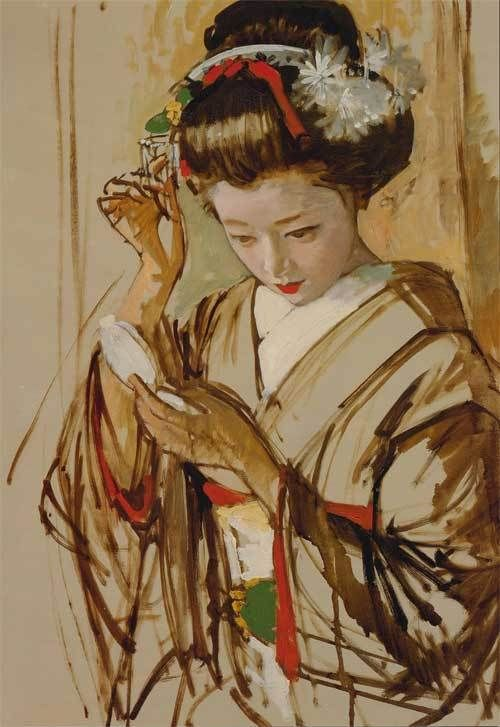 Maiko by KOISO Ryohei, Japan 1958 小磯良平 「化粧する舞妓」