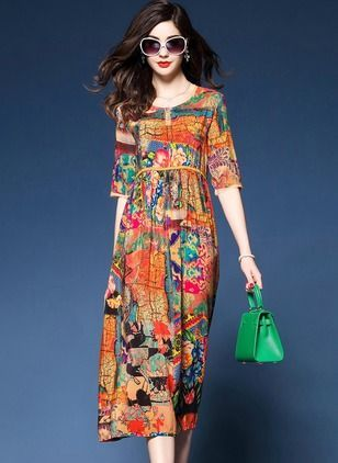 d6b6e275f5c Polyester Geometric Half Sleeve High Low Casual Dresses (1049156)   floryday.com   women dress dresses