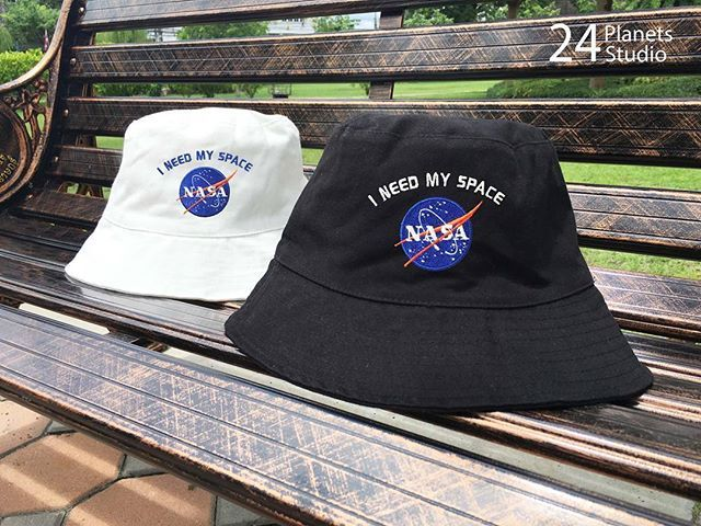 NASA I need my space Embroidered Bucket Hat by 24 Planets Studio #24PlanetsStudio  #hipster #nerd #Geek #indie #travel #holiday #shopping #buckethat #hats #etsy #etsyseller #girl  #girls #vacation #cute #alien #ufo #nasa #gift #gifts #galaxy #astro #astrology #star #starship #moon #rad #cosmic #differencemakesus