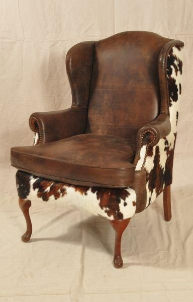 Custom Cowhide Western Wing-Back Chair