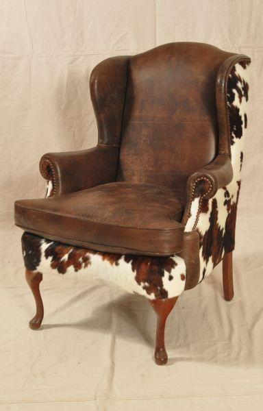 Custom Cowhide Western Wing-Back Chair