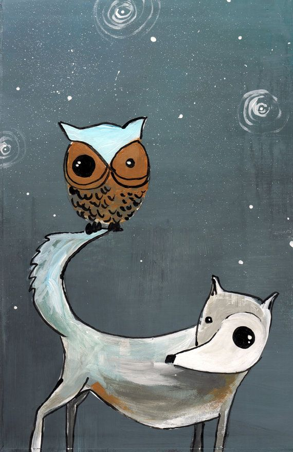 wolf and owl GIant poster print 11x17 poster print gray and