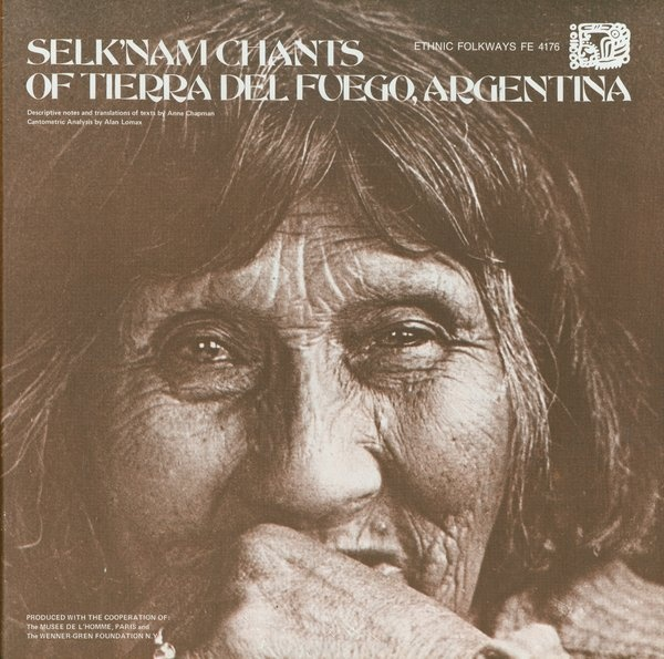"""Selk'nam Chants of Tierra del Fuego  Cover Design: Ronald Clyne  Photograph: Anne Chapman  """"The cover presents a memorable close-up photograph of Lola Kiepja taken by the album's producer, ethnologist Anne Chapman. According to Chapman, Lola Kiepja was the last person to speak the language of her people.""""  -The Look of The Listen"""