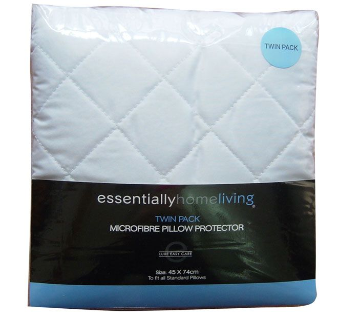 Microfibre ESSENTIALLY HOME LIVING  Features: 100% microfibre Lofty polyester fill Diamond quilted Easy care Protects your pillow from moisture Recommended gentle, warm machine wash Do not bleach, tumble dry, iron or dry clean For best results dry flat in shade Made in China  Set Contains: x2 Standard Pillow Protectors - 45cm x 74cm - #protectors