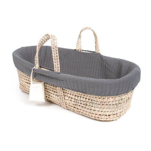 $70 Tadpoles Line Stitched Moses Basket and Bedding Set, Grey