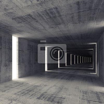 Streszczenie ciemny tunel pusty beton wnętrze, 3d tle na obrazach Redro. Najlepszej jakości fototapety, naklejki, obrazy, plakaty, poduszki. Chcesz ozdobić swój dom? Tylko z Redro