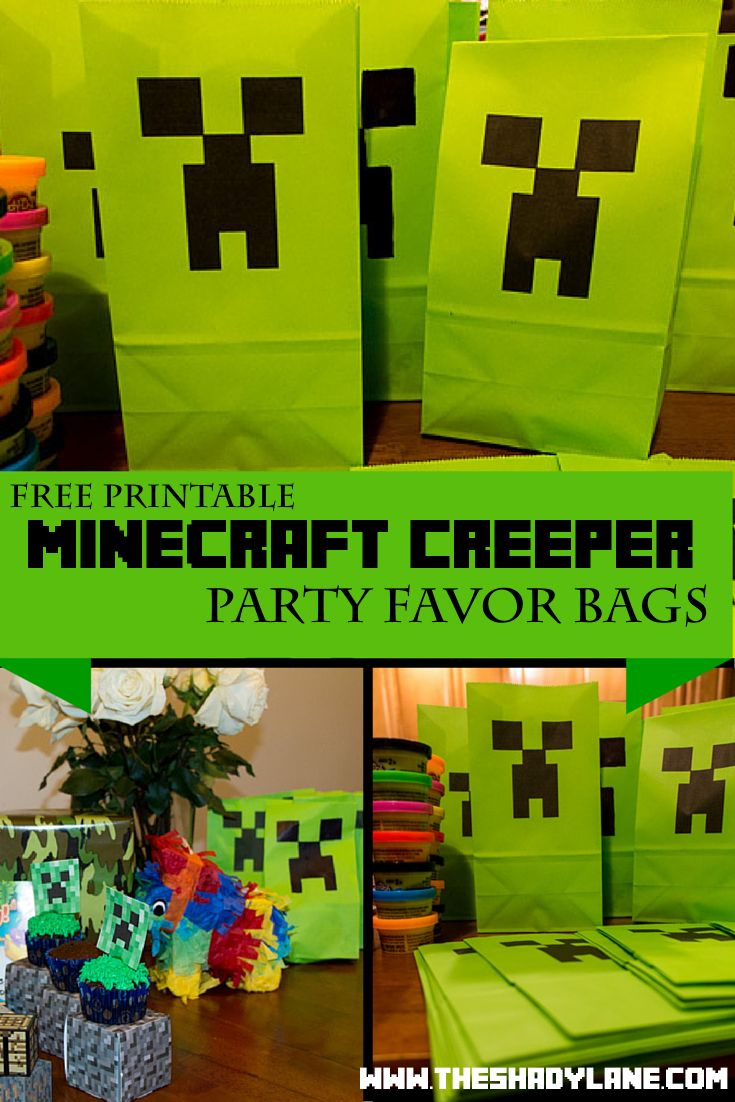 Free Printable Minecraft Creeper Party Bags