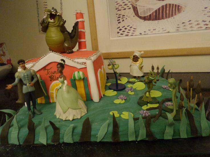 Tiana Küss den Frosch Pincess and the frog - Bajou und Restaurant Fondant Torte Cake