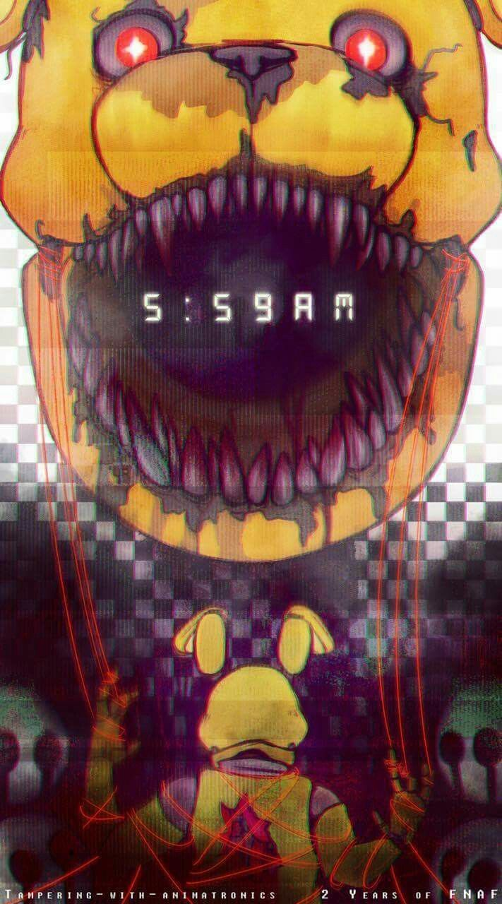 Creepy illustration of Nightmare Fredbear and Springtrap.
