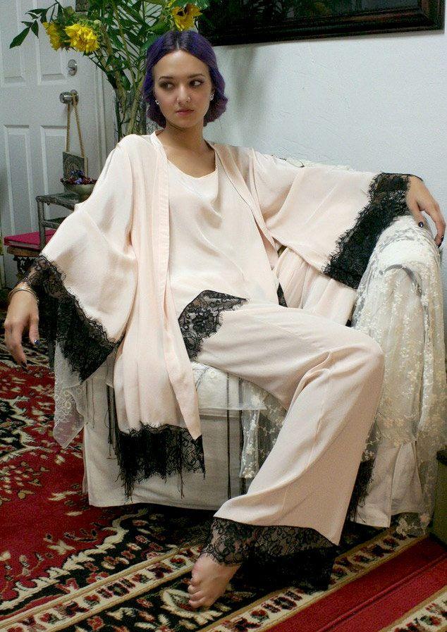 1920s silk pyjamas and robe
