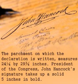 Fact about John Hancock's signature on Declaration of Independence