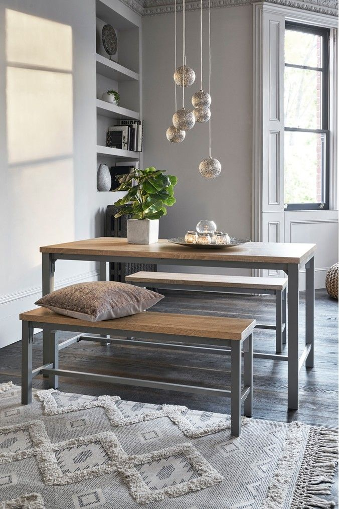 next ellison 4 seater bench set  grey in 2020  table and