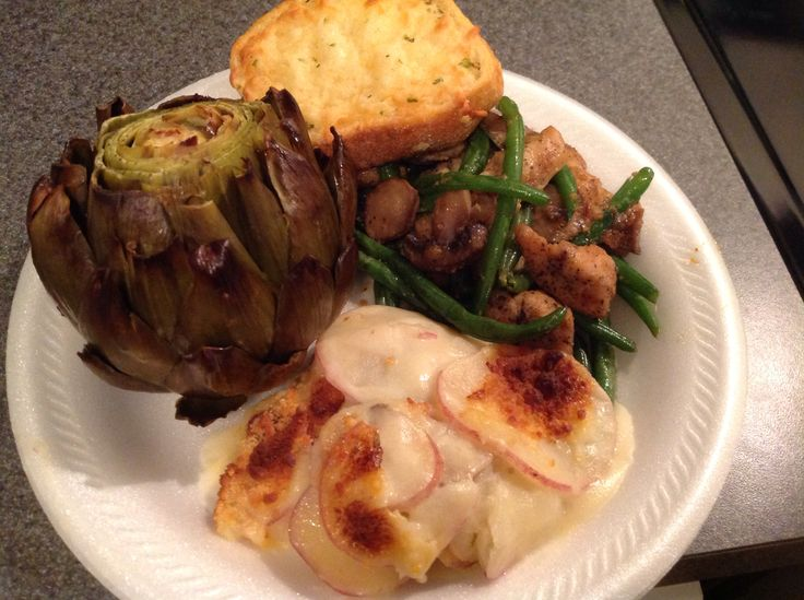 Chicken and Haricot Vert, Roasted Artichokes(first time) and Scalloped potatoes