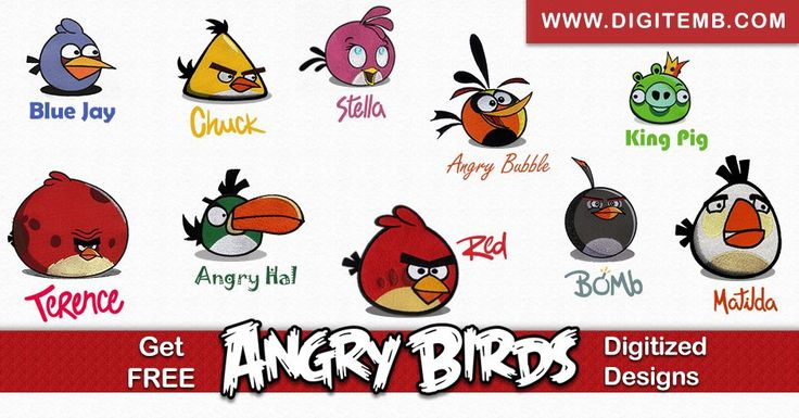 Which Angry Bird is your Favorite? Get its Free Embroidery Design right here:  https://www.digitemb.com/free-digitized-designs