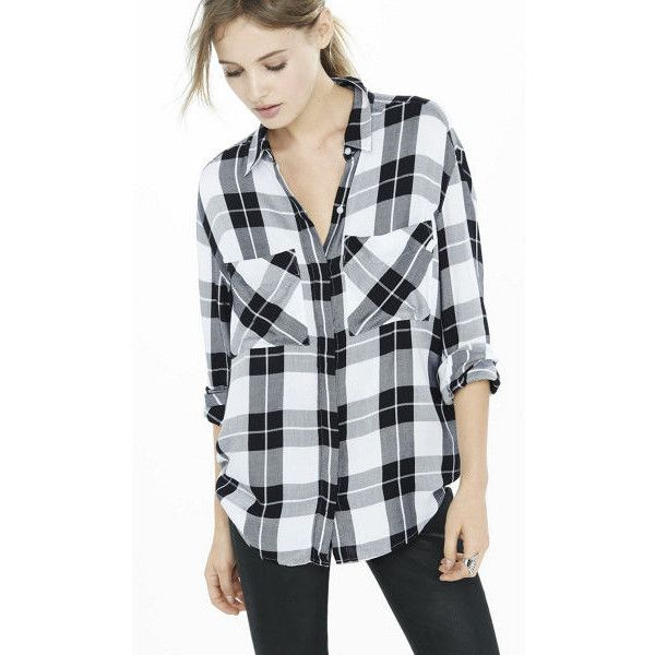Express Black And White Oversized Plaid Shirt ($60) ❤ liked on Polyvore featuring tops, multi, oversized flannel shirt, black and white checkered shirt, button-down shirts, long shirts and flannel shirts