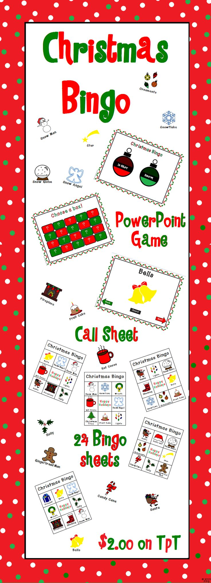 """Here's a Christmas bingo game I made. Comes with everything you need (except chips). Use the powerpoint included to have students identify the correct Christmas pictures on their bingo sheet. Each sheet has different pictures so only one or two students will get bingo at a time. Bingo sheets are 3 X 3 with a """"Happy Holidays"""" as a free space on each sheet. Words are under each picture."""