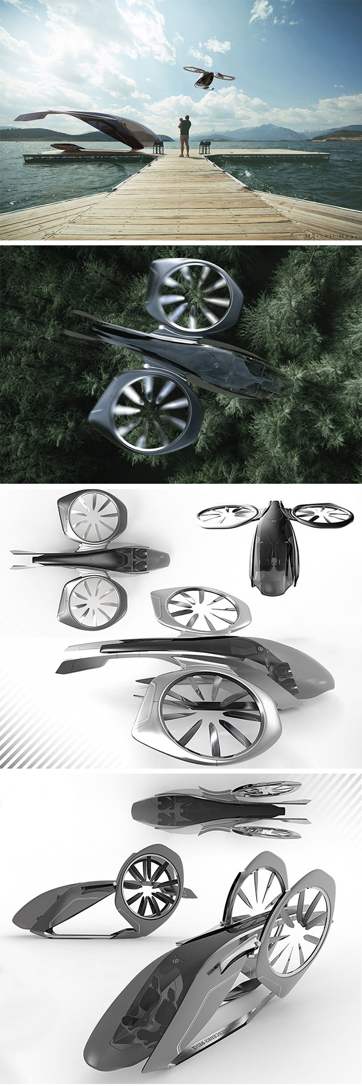 Sky2Go Represents the future of ride-sharing, this drone concept applies the Mercedes Benz design language to put passengers in the lap of luxury as they travel. The autonomous system makes it possible to pick up and drop off at precise locations and shortens travel distance and commuting time by avoiding busy roadways.