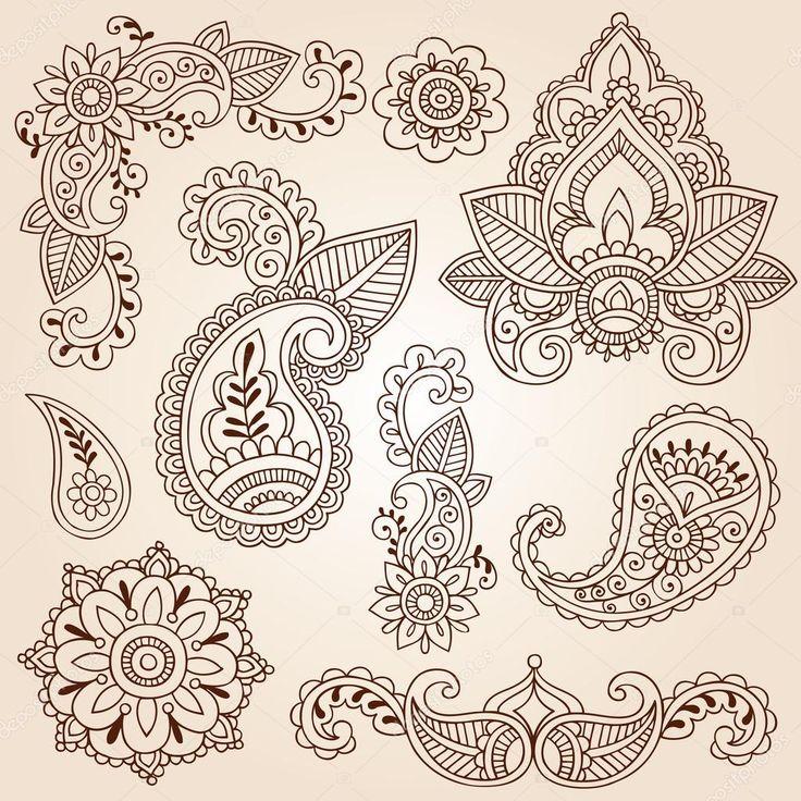 Flores mandala mão-extraídas, folhas e abstrato paisleys henna mehndi paisley floral tatuagem elementos de design ilustração doodles-vetor