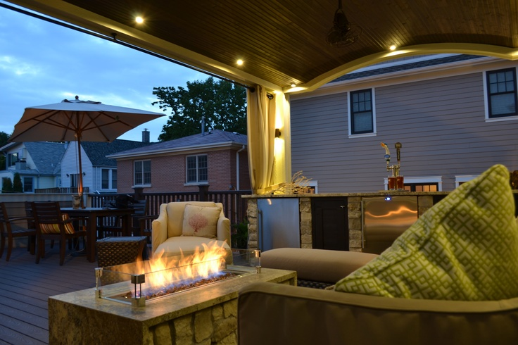 Arched Veranda On Roof Deck With Built In Bar Kegerator