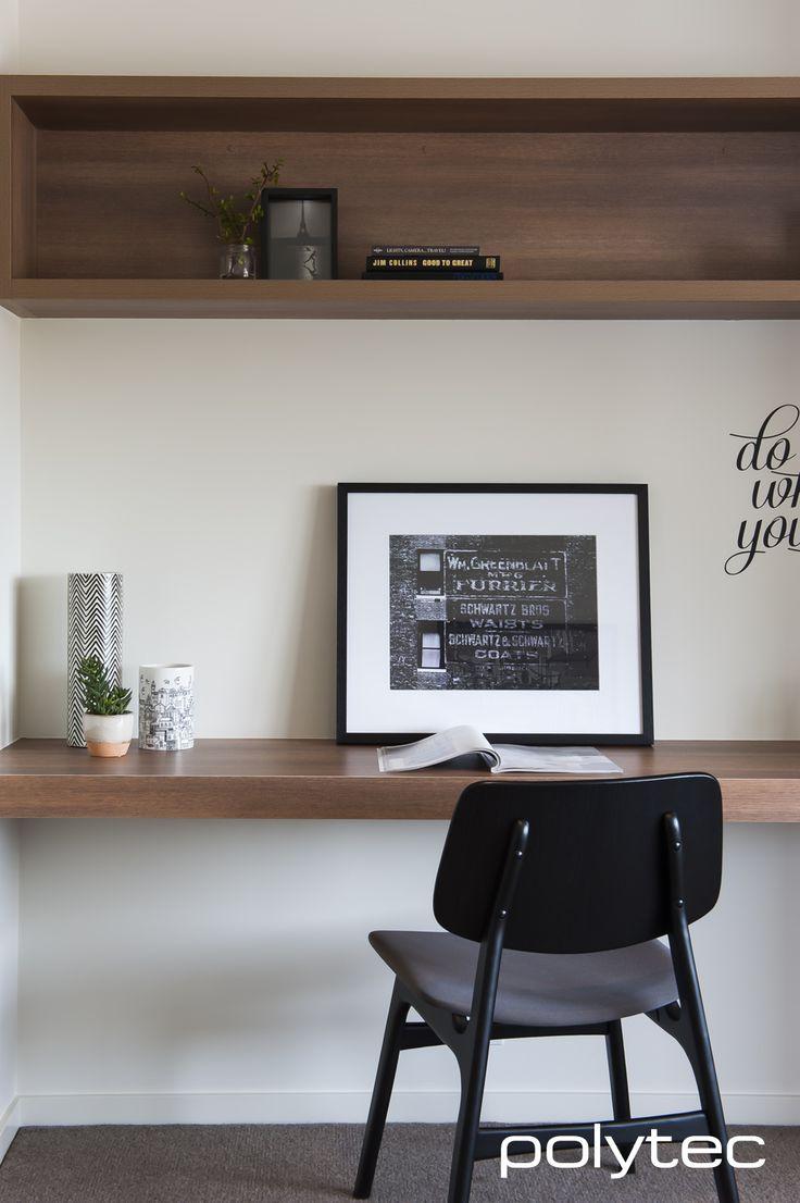 polytec - desk and shelving in RAVINE Sepia Oak. Stylish modern simplistic design.