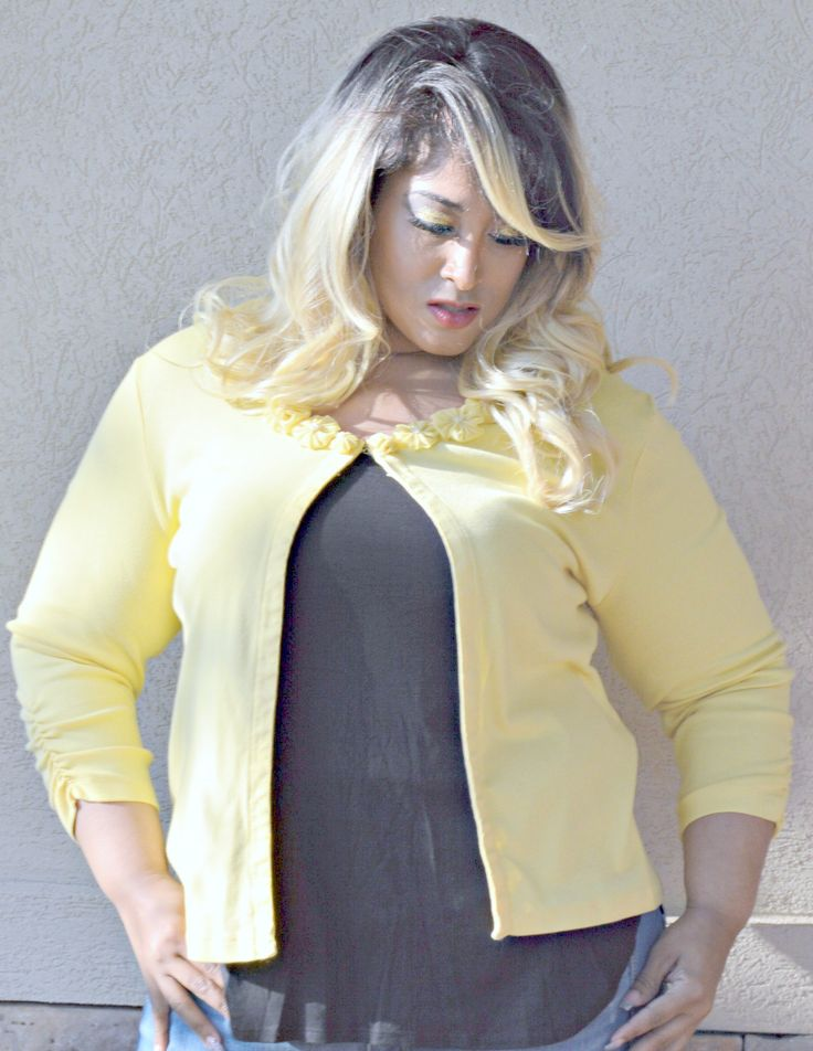 #cardigansweater s Yellow Sweetheart #Cardigan Sweater With Flower Collar Design Size L