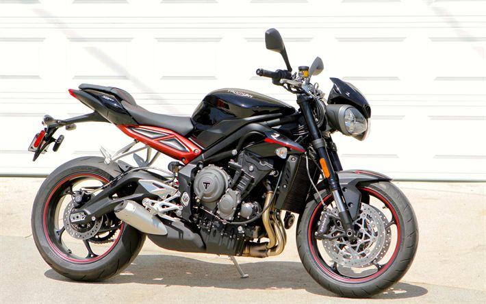 Descargar fondos de pantalla Triumph Street Triple 765 R, 2018 motos, moto gp, superbikes, el Triunfo