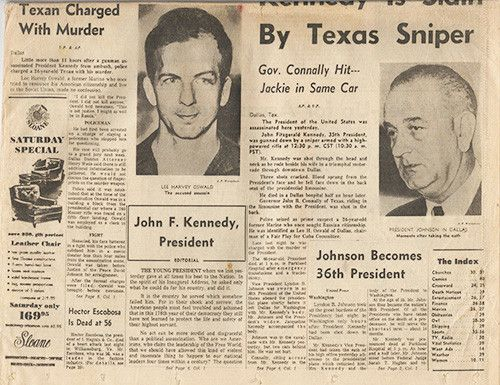 President John F Kennedy JFK Assassination Newspaper Nov. 23, 1963 - 2
