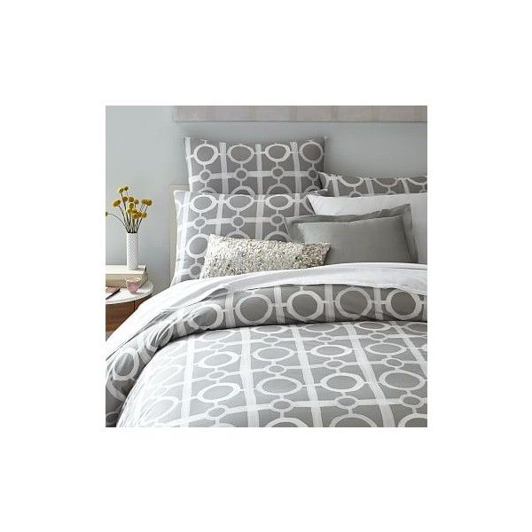West Elm Organic Circle Lattice Duvet Cover, Twin, Platinum - Duvet... ($30) ❤ liked on Polyvore featuring home, bed & bath, bedding, duvet covers, grey, west elm duvet, lattice bedding, twin duvet, gray duvet and gray bedding