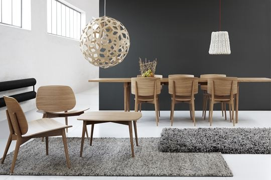 Designer: Jonas Lindvall Chairs reminiscent of Herman Miller.  Think it is a David Trubridge plywood pendant...?