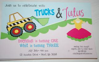 Baby Face Design: Trucks and Tutus birthday party invitations