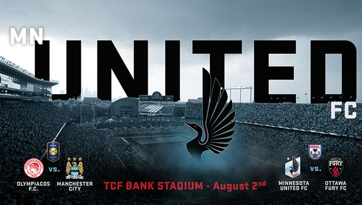 Minnesota United FC announced that it will host the Ottawa Fury in a North American Soccer League (NASL) match following the Guinness International Champions Cup match between Manchester City and Olympiacos at TCF Bank Stadium on Saturday, August 2.